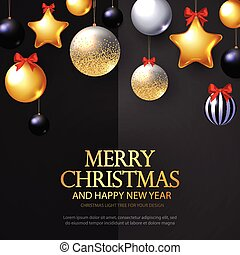 Merry Christmas Background with Realistic Golden Balls and Stars, Black Balls and Red Bows.
