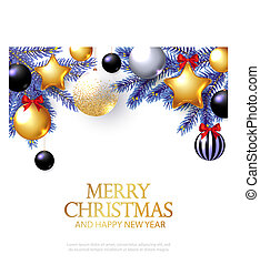 merry christmas background with realistic golden balls and stars black balls red bows and