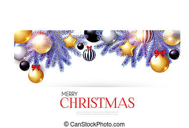 Merry Christmas Background with Realistic Golden Balls and Stars, Black Balls, Red Bows and Fir Tree Branches.