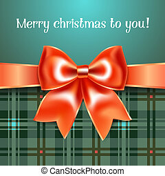 Merry Christmas background with red ribbon bow, 10eps
