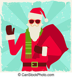 Merry Christmas background with Santa in hipster style.