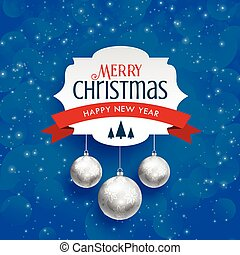 merry christmas background with silver hanging balls