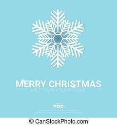 Merry Christmas background with snowflakes on the blue background.