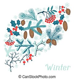 Merry Christmas background with stylized winter branches.