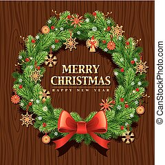 merry christmas background with traditional wreath