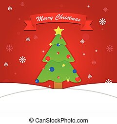 Merry Christmas background with tree and snowflake