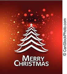 Merry Christmas Background With Tree vector illustration