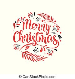 Merry Christmas Background with Typography, Lettering. ...