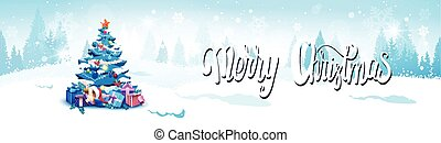 Merry Christmas Background With Winter Forest Landscape And Decorated Blue Fir Tree Horizontal Banner
