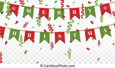 Merry Christmas background with xmas bunting flags and confetti in traditional colors. Bright Christmas garlands. Winter holiday design on transparent background. Vector illustration