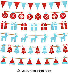 Merry Christmas background with xmas bunting flags, balls, gift boxes, reindeers, bells, santa hat. Bright Christmas garlands. Winter holiday design. Vector illustration