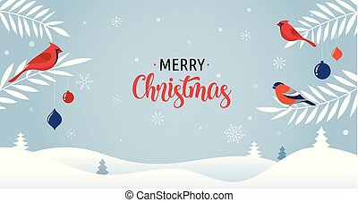 Merry Christmas background with Xmas trees, greeting card, ...