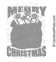 Merry Christmas bag with gifts in grunge style. Big red sack of Santa Claus. Spray and scratches. Noise and brush strokes. Printing for New Year