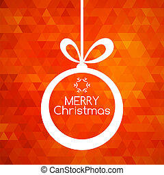 Merry Christmas ball card abstract red background
