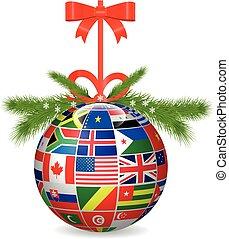 Merry Christmas  ball International flags.Vector