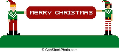 Merry Christmas banner and pixel characters