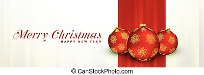merry christmas banner design with red xmas balls