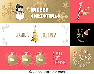 Merry christmas banner label set
