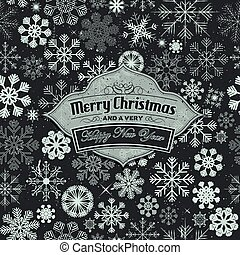 Merry Christmas Banner On Seamless Snowflakes Background
