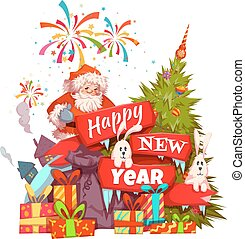 Merry Christmas banner with Santa Claus, ribbon and pine. Vector illustration