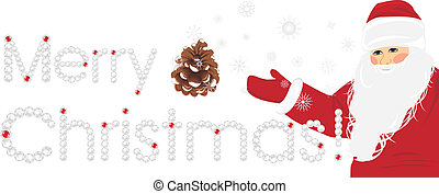 Merry Christmas. Banner with Santa