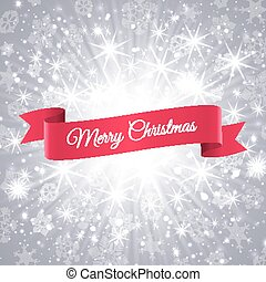 Merry Christmas banner with snowflakes background