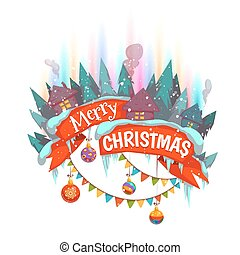 Merry Christmas banner withhouses and Northern Lights. Vector illustration