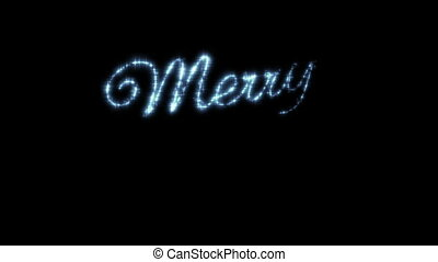 Merry Christmas Beautiful Text Animation Isolated on Black Background. Stars in the Sky. HD 1080.