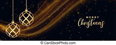 merry christmas black banner with golden xmas balls
