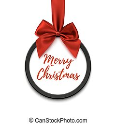 Merry Christmas black round banner with red ribbon and bow.