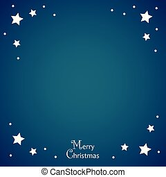Merry Christmas blue background with white stars