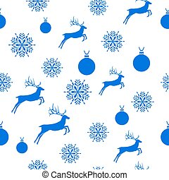 Merry Christmas Blue elements on white background. Seamless graphic pattern made with elements of zentangl and doodle. Wrapping paper illustration