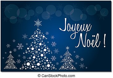 Merry christmas blue french greeting card in french...