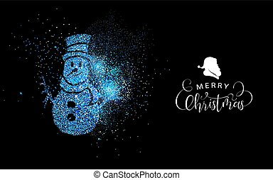 Merry Christmas blue glitter snowman shape card