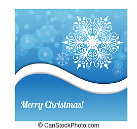 Merry Christmas blue greeting background with snowflake.
