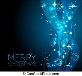 Merry Christmas blue greeting  card with snowflakes
