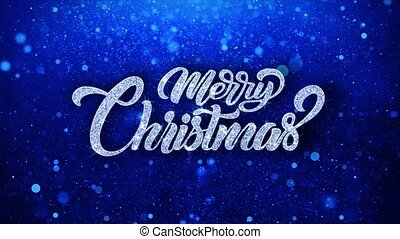 Merry Christmas Blue Text Wishes Particles Greetings,...