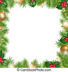 Merry Christmas Border, Isolated On White Background, Vector...