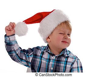 Merry Christmas Boy with Santa Hat