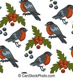 Merry Christmas bullfinch bird and mistletoe symbol seamless...