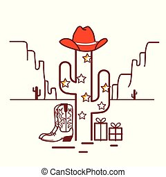 Merry Christmas cactus illustration with garland and cowboy western clothes