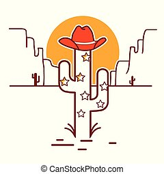 Merry Christmas cactus illustration with garland and cowboy western hat