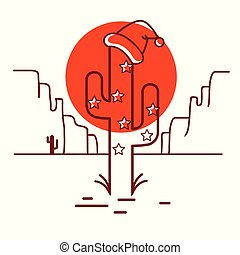Merry Christmas cactus illustration with garland and Santa hat