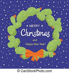 Merry Christmas cactuses wreath with holiday text. Vector ...