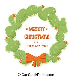 Merry Christmas cactuses wreath with holiday text. Vector isolated on white