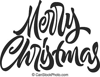 Merry Christmas calligraphic hand drawn lettering, beautiful isolated element