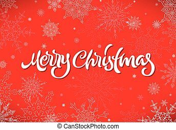 Merry Christmas calligraphic hand drawn lettering with ...