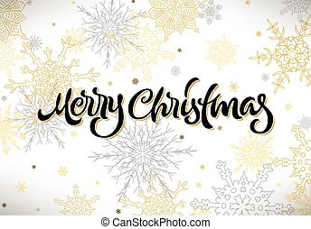 Merry Christmas calligraphic hand drawn lettering with snowflakes