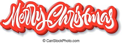 Merry Christmas calligraphic handdrawn lettering with puffy jelly style