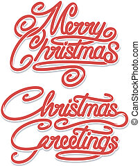 Merry Christmas Calligraphic Text